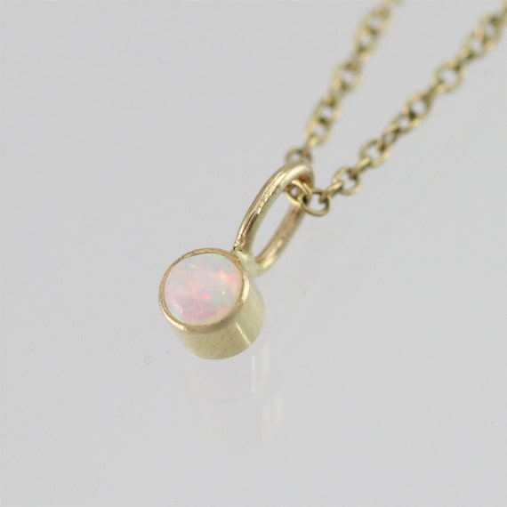 Opal Drop Necklace in 14k Yellow Gold