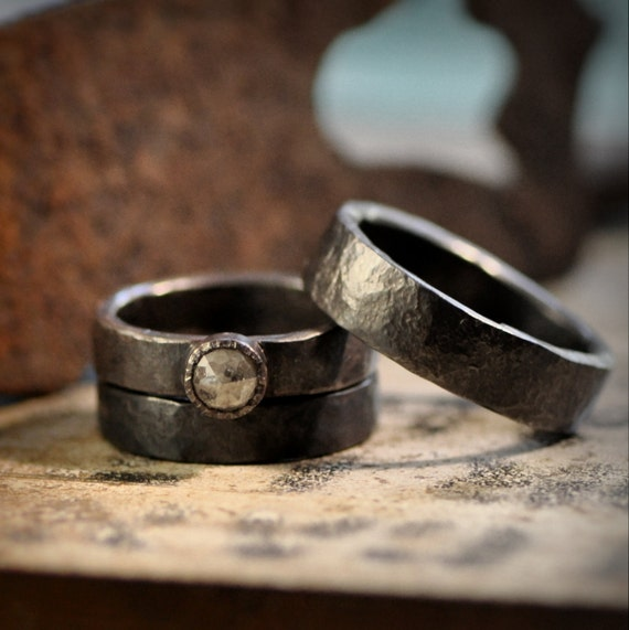 Oxidized Sterling silver wedding band set and rose cut diamond engagement ring    Reserved for S. and G.