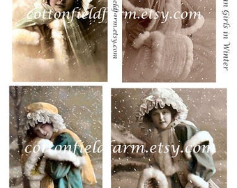 Victorian Girls In Winter Digital Sheet C-391 for Cards, Tags, Scrapbooking for Personal and Commercial Use