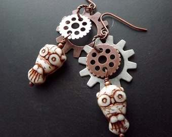 Owls and Gears, dangle earrings