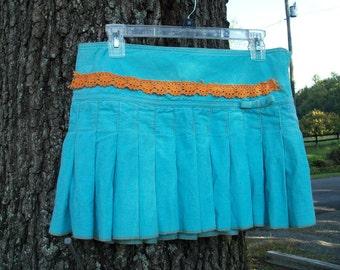 Azure Corderoy Pleated Mini Skirt Upcycled Aeropostale Size 6 Embellished Vintage Pumpkin Tattered Lace