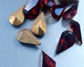 12  Vintage Czech New Old Stock Garnet Faceted Red 10x6 mm Rhinestone Teardrop Pointed Foiled Back