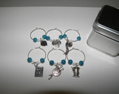 Wine Glass Charms / Sewing / Crafting Theme / silver and turquiose tones / set of 6