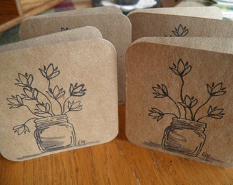Wild Flower Note Cards (All Occasion) Set of 4/ blank inside