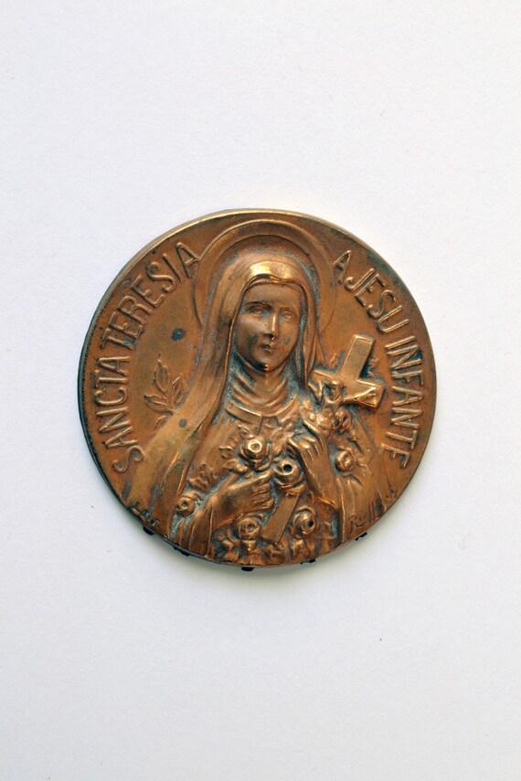 Vintage Pressed Metal Disc of Saint Therese of Lisieux