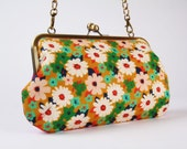 Little handbag - Retro flowers - Rotary phone in Ambrosia - metal frame purse with shoulder strap