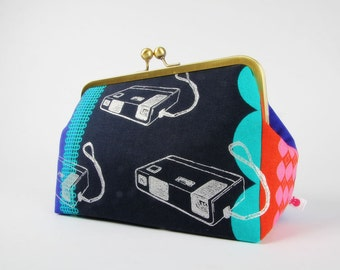 Cosmetic pouch - Retro cameras on navy blue - metal frame clutch bag