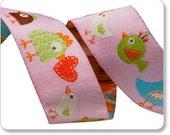 Light Pink Happy Happi Birds Jacquard Ribbon by Dena Designs 7/8 inch width - 1 yard