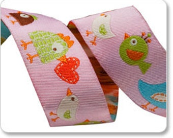 Light Pink Happy Happi Birds Jacquard Ribbon by Dena Designs 7/8 inch width - 1 yard