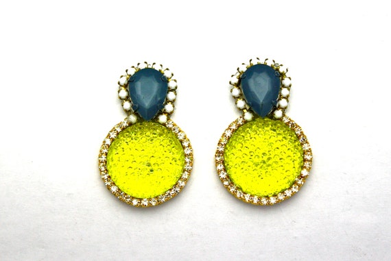 One of a Kind Earrings- Hand Dyed Vintage Crystal Bubbles- Belinda