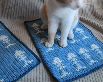 Large Cat Placemat & Nap Mat Set, Country and Windsor Blue, Ready to Ship