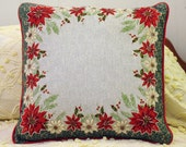 Get To The Poinsettia vintage holiday pillow