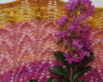 Knitting Pattern Gradient Lace  - Crape Myrtle Scarf Shawl - rectangle cowl wrap stole scarf -  pattern using sock fingering lace yarn