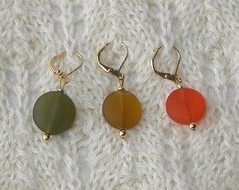 Sea Glass Crochet Removable Stitch Markers - Knitting Stitch Markers - Stitch Markers - 15mm amber olive orange beach glass - set of 6