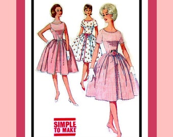 Vintage 1960s -Pretty in Pink- Delightful Ladies Twirl Dress-Sewing Pattern-Three Styles-Inverted Front Pleat-Rick-Rack Trim-Size 14-Rare