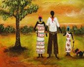 "african art painting Original Art Painting folk art painting, Latin American Art, Abrstract Acrylic Modern ""Love Family"" - By Maite Tobon"