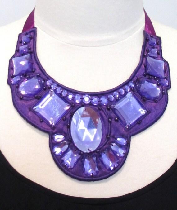 Beaded bib necklace statement necklace purple jewel necklace ribbon bow necklace fabric necklace big jewel necklace-Purple Jewel  Necklace