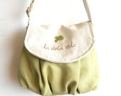 La dolce vita, small messenger, linen cotton burlap, hand painted and embroidery