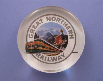 Train Decor Great Northern Railway Train Travel Advertising Large Round Glass Paperweight Train Lover