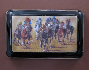 """Horse Racing """"Harrowing"""" Painting Rectangle Glass Paperweight Horse Lover"""