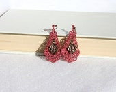 EARRINGS - Chandelier Drop - Dusty Rose - Fuchsia Rose - Rose Charm  - Free Standing Lace Embroidery