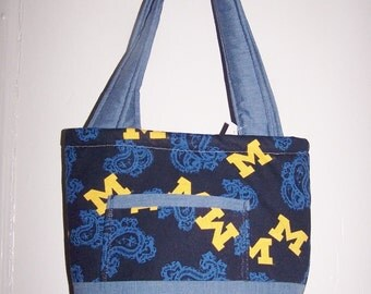 Michigan UM Small Tote  Paisley and Denim  Hand Made One of a Kind Tote Bag  Great Gift