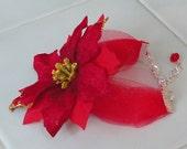 HOLIDAY Teacher Co-Worker Gift Red POINSETTIA &Tulle CHRISTMAS PREsent Stocking Stuffer Women's  Bracelet By DYEnamite