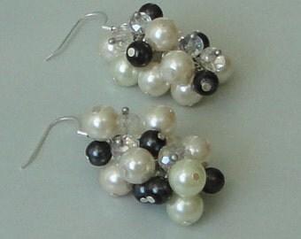 BRIDESMAID GIFT Ivory & Black Pearl Diamond Look WEDDING Bridal Earrings