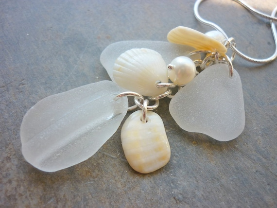 Sea Glass Necklace - Sea Shell Keshi Pearls Seashell Beach