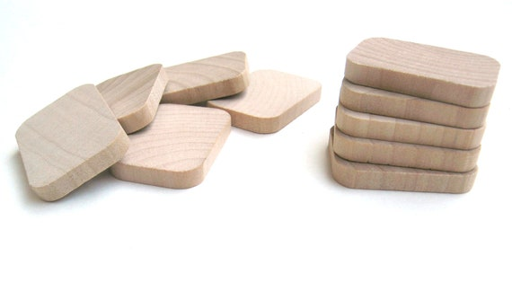 """25 - 1 3/8"""" Wooden Rectangles - 1 3/8 Inch (35 mm) - Small Unfinished Wood Rectangle for Crafts"""