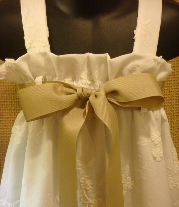 Gorgeous Off White Floral Embroidered Dress - Perfect for Flower Girl, Easter, Baptism or Beach Portraits..Choice of Ribbon Color