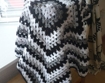 Baby Blanket Shawl Granny Square in Colours Black White and Grey Crocheted