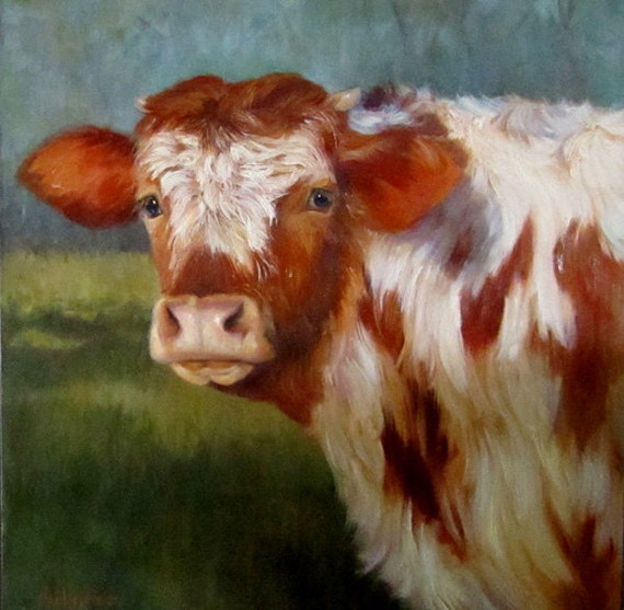 Cow Painting of Rusty on 20x20 Canvas an Original Oil Painting by Cheri Wollenberg