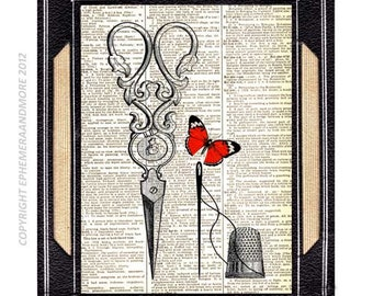 SCISSORS THIMBLE NEEDLE art print wall decor Victorian Edwardian sewing on vintage dictionary book page black white red butterfly 8x10