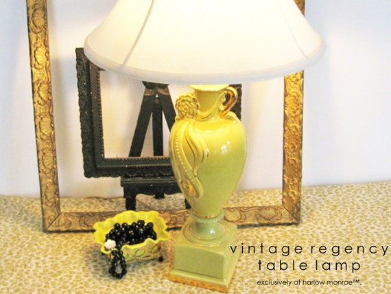 Vintage TABLE LAMP - Hollywood Regency - Chartreuse Green Gold Ceramic Lamp