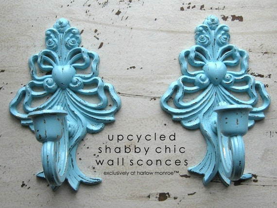 Wall Sconces Shabby Chic : Items similar to Shabby Chic Wall Sconces - Vintage Turquoise Candle Holders - Cottage Decor on Etsy