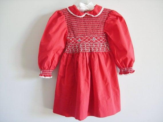 Vintage Red Smocked Dress