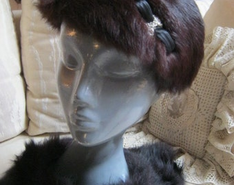 Vintage Dark mahogany brown  fur headband, brown mink narrow hat, brown maroon mink hat with bow jewel trim