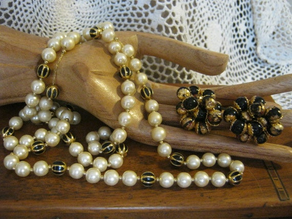 RESERVED RED MINI  Napier pearl jet goldtone necklace and black gold cluster clip earrings