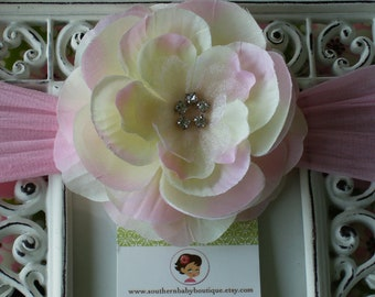 NEW ITEM----Boutique Baby Girl NYLON Headband with Rhinestone Rose Flower------Pink Lemonade and Pink-------Bella Collection