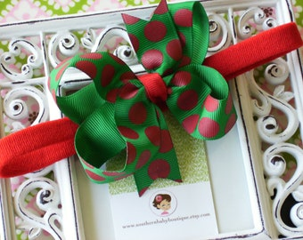 New Item----Boutique Baby Girl Toddler Hair Bow Dainty Headband--------Green and Red Big Dots
