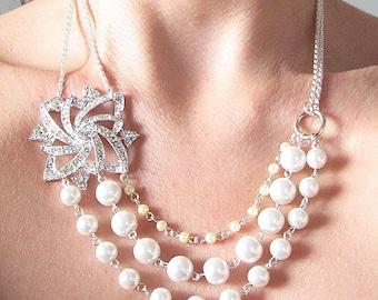 Bridal Jewelry Pearl Necklace Wedding Jewelry Rhinestone Wedding Necklace Multi Strand Bridesmaid Jewelry