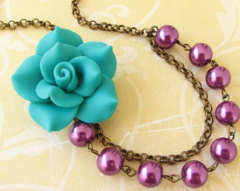 Flower Necklace Beaded Necklace Bridesmaid Jewelry Teal Necklace Purple Jewelry Statement Necklace Gift For Her