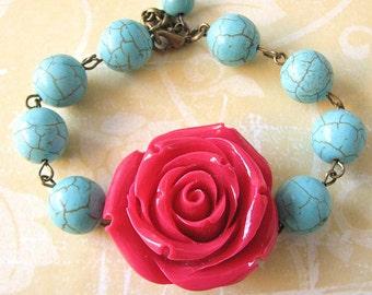 Beaded Bracelet Bridesmaid Jewelry Flower Bracelet Rose Jewelry Turquoise Bracelet Red Bracelet Gift For Her
