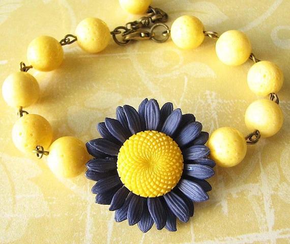 Beaded Bracelet Flower Bracelet Yellow Jewelry Charm Bracelet Navy Blue Jewelry Bridesmaid Jewelry Gift For Her