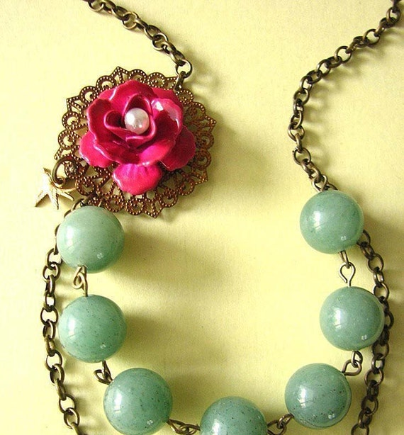 Bridesmaid Jewelry Statement Necklace Flower Necklace Emerald Green Jewelry Pink Necklace Gift Romantic Necklace