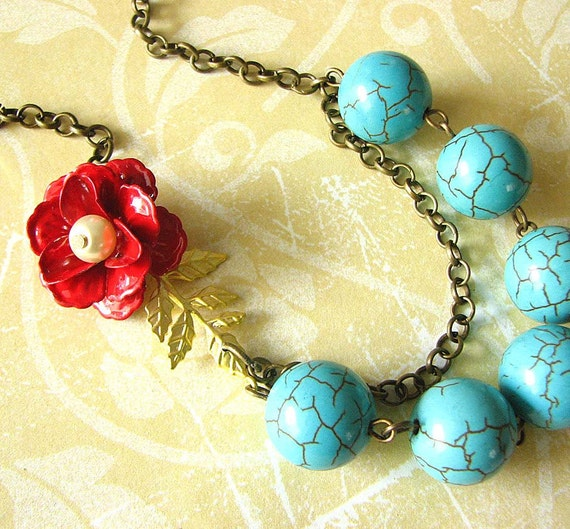 Bridesmaid Jewelry Flower Necklace Turquoise Jewelry Rose Necklace Enamel Jewelry Gold Leaf Necklace Beadwork