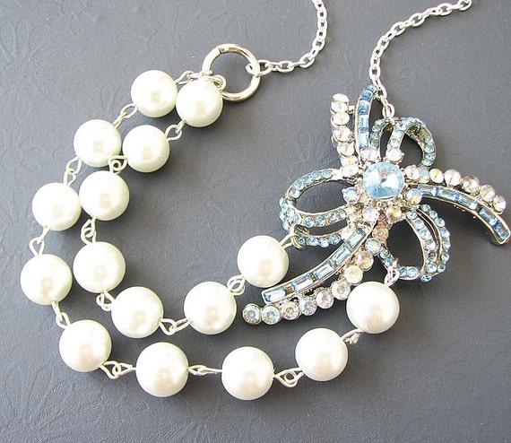Bridal Jewelry Wedding Necklace Wedding Jewelry Light Blue Necklace Pearl Bridal Necklace Double Strand Bridesmaid Gift
