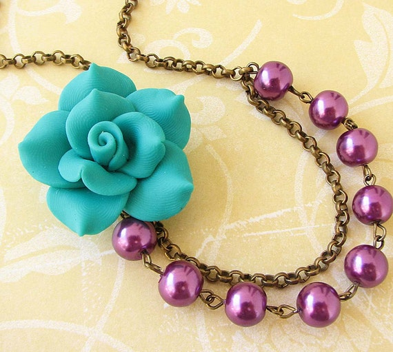Flower Necklace Bridesmaid Jewelry Teal Necklace Purple Jewelry Bib Statement Necklace Beadwork Gift