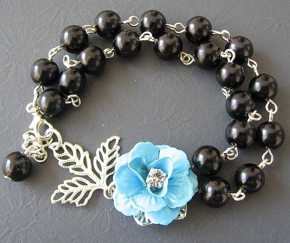Black Bracelet Bridesmaid Jewelry Turquoise Bracelet Pearl Jewelry Silver Leaf Bracelet Flower Bracelet Elegant Maid of Honor Gift Beadwork